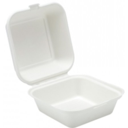 Catering Meal box Bagasse Clamshell Burger Box 6""
