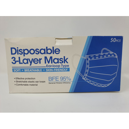 PPE Face Masks Disposable Medical 3 layer 50s